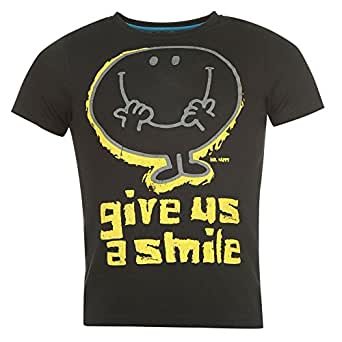 Mens Official Mr Men Mr Happy T Shirt - Several Sizes and Styles Available (Medium, Black)