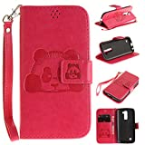 Cozy Hut LG K10 Bookstyle Étui Rose Red panda national trésor Housse en Cuir Case à rabat pour LG K10 Coque de protection Portefeuille TPU Case - Rose Red panda