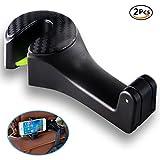 Auto Kopfstütze Haken, JXJFOZ 2 in 1 Auto Haken Kopfstützen Halterung Haken für Handtasche, Geldbeutel, Kleidung, Gepäck(Schwarz )