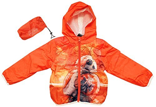 Boys Star Wars BB-8 Droid Lightweight Hoody Rain Jacket with Pouch Sizes from 4 to 10 Years