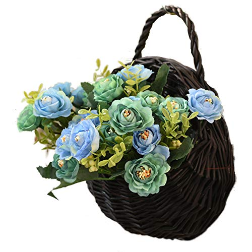 TELLW 1 Set Künstliche Kunst-Imitation Garten Weide Wand Blumen Korb Arrangement Wände Rattan Hängekorb Kreative Home Wand Deko Blumen Töpfe Arrangement, Blue 2, 1set,H:20CM,W:20CM (Imitation Blumen-arrangements)