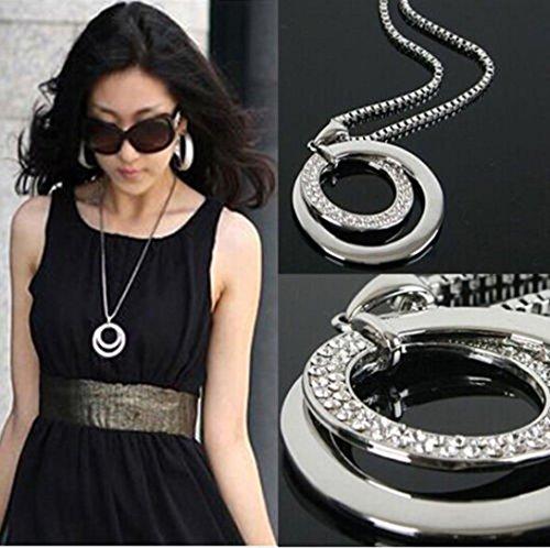 Kette Schmuck Halskette Damen DAY.LIN Lange Kette Frauen Mode Kristall Strass Versilbert Anhänger Halskette Geschenk (Anhänger Uhren)