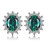 JewelryPalace Pendientes Princesa Diana Kate Middleton con nano rusa imitado esmeralda