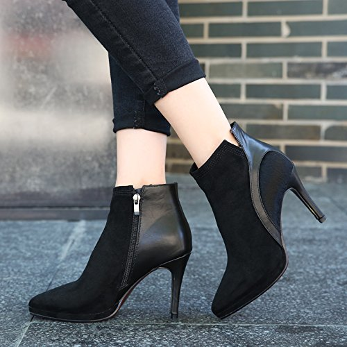 lButt Stitching femmina Taiwan nuova con bene impermeabile Heeled Satin inverno Color KPHY stivali black High punta stivali AqHxHBd4