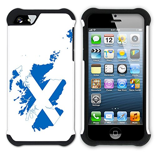 Graphic4You Schottland Schottisch Flagge Hart + Weiche Kratzfeste Hülle Case Schale Tasche Schutzhülle für Apple iPhone SE / 5 / 5S Design #4