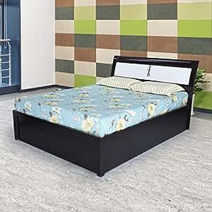 Royaloak Grape King Size Bed with Hydraulic Storage (Black and White)