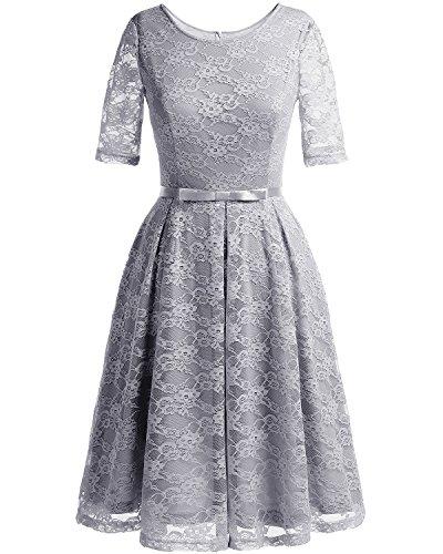 Bbonlinedress Robe Femme 1950s en Dentelle Manches Courtes Col Ronde Robe de Soirée Rockabily Grey