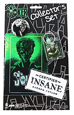Batman JOKER, Limited Edition Collector's Set - Officially Licensed DC COMICS Originals, Includes, Button, Sticker/Decal, Keychain, &