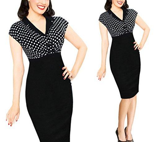 Smile YKK Damen V Ausschnitt Sommer Kleid Bodycon Kleid Cocktailkleid  Tulpenkleid Party Kleid Punkt Schwarz