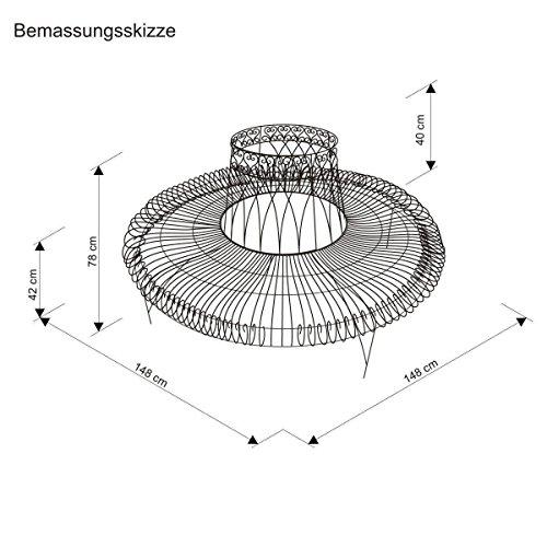 Gartenbank aus Metall komplette Baumbank rund Antik-Braun 148 x 74 x 78 cm - 4