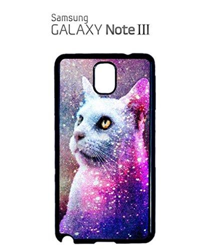 Galaxy Cat Grumpy Kitten Mobile Cell Phone Case Samsung Note 2 Black Blanc