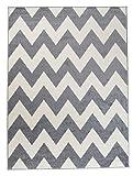 Moderner Designer Teppich Zick-Zack Geometrisches Muster - Dichter Und Dicker Flor Modern Designer Muster - Ideal Für Ihre Wohnzimmer Schlafzimmer Esszimmer -