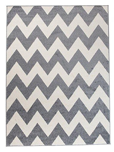 """Moderner Designer Teppich Zick-Zack Geometrisches Muster - Dichter Und Dicker Flor Modern Designer Muster - Ideal Für Ihre Wohnzimmer Schlafzimmer Esszimmer - """" CASABLANCA """" Kollektion von Carpeto - Grau Weiß - 120 x 170 cm"""