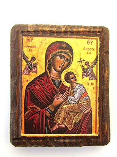 Magnet Holz Griechisch Christian-orthodoxen Holz Icon von Virgin Mary/A8