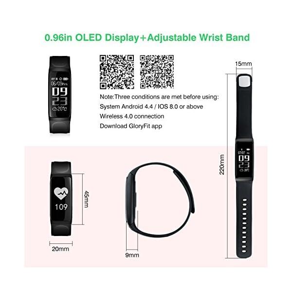 Pulsera de Actividad, ELEGIANT Reloj Inteligente Bluetooth 4.0 Monitor de Hombre Mujer IP67 Brazalete de OLED Pantalla Análisis de Calorías y Dormir Compatible para Android iOS Negro 7