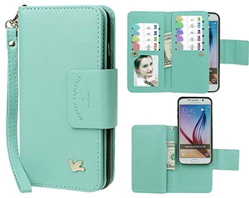 Hülle für Samsung S6, xhorizon FX Prämie Leder Folio Case [Brieftasche] [Magnetisch abnehmbar] Uhrarmband Geldbeutel Flip Vogel Tasche Hülle für Samsung Galaxy S6 mit einer Auto Einfassungs Halter Minze