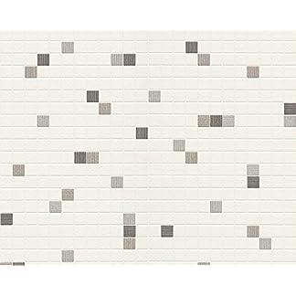 Livingwalls 607744 – Papel pintado para cocina o baño (imitación azulejos, no adhesiva)