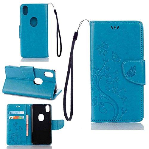 pinlu Schutzhülle Für BQ Aquaris X5 Plus (5 Zoll) Handyhülle Hohe Qualität PU Ledertasche Brieftasche Mit Stand Function Innenschlitzen Design Schmetterling Blau