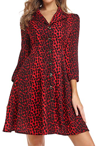 FanXinXing Vestido con Cuello en V con Estampado de Leopardo, Manga 3/4, Casual, Mini Vestido con Botones en la línea A para Mujer