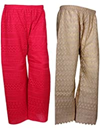 IndiStar Women Combo Pack (Pack Of 1 Georgette Pallazo With Astar And 1 Cotton Chikan Work Pallazo) - B078M47Z3R