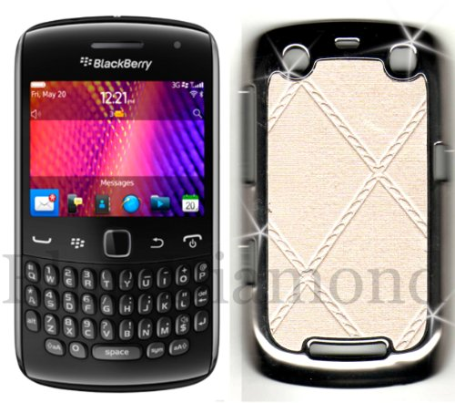 Blackberry 9360 curve in pelle color crema e argento cromato custodia (Curve 8900 Zebra)