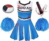 ILOVEFANCYDRESS Zombie Cheerleader KOSTÜM VERKLEIDUNG= 5 Farben+6 GRÖßEN=MIT+OHNE BLUTIGE Strumpfhose=HAT DIE Aufschrift -Squad + Make UP+Pompoms+KUNSTBLUT=MIT Strumpfhose/BLAUES Kleid-SMALL
