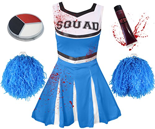 ILOVEFANCYDRESS Zombie Cheerleader KOSTÜM VERKLEIDUNG= 5 Farben+6 GRÖßEN=MIT+OHNE BLUTIGE Strumpfhose=HAT DIE Aufschrift -Squad + Make UP+Pompoms+KUNSTBLUT=MIT Strumpfhose/BLAUES ()