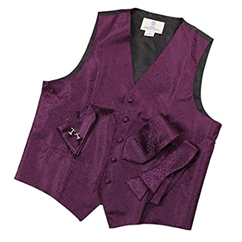 VS1008-M Mens Dress Vest Purple Paisleys Formal Vest for Wedding Gift Set Match Necktie for Men, Cufflinks, Handkerchief, Solid Bow Tie for Suit By Y&G