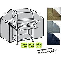 HomeStore Global medio Copertura per gas Barbecue 135 x 57 x 112/120cm – Spesso e resistente di alta qualità 600D poliestere Tela con cuciture doppie cuciture per resistenza supplementare, qualsiasi tempo resistente e anti-umidità – Grigio