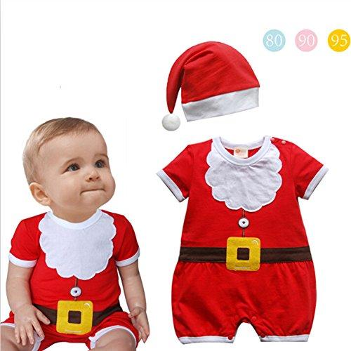 Unisex Kleinkind Weihnachten Outfit - Weihnachten Santa Claus Cosplay Jungen Mädchen Tücher Kurzarm Strampler Hut 2PCS (Hut Für Kinder Santa)