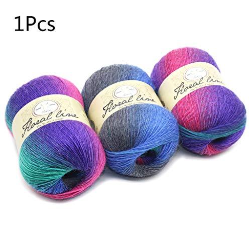 Morbido filato pettinato, colori arcobaleno sfumati fai da te per lavori a maglia, scialle di lana, sciarpa, uncinetto, filo forniture