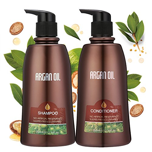 Skymore Argan Oil Shampoo+Conditioner Mother's Day Gift Set, Hair Nutrient Treatment, Shampoo Sets For Men,Women,Children, Shampoo Conditioner For All Hair Types/Dry Hair/Greasy Hair/Curly Hair/Coloured Hair 350ml