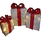 Beleuchtete große Dekoration 'Geschenkboxen', Silber und Rot, in Innenräumen und im Freien zu verwenden