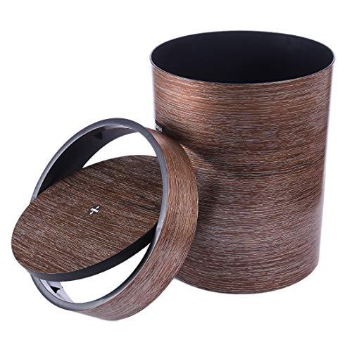 Winni43Julian 9.6L Mülleimer Küche Push Mülleimer mit Rotierender Deckel Mülleimer Bad Abfalleimer Plastik Mimetic Holz Korn Papierkörbe Abfallsammler (Kaffee) (Holz-küche-mülleimer)