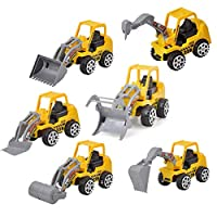 djryj 2019 New Early Engineering Vehicles Friction Powered Kids Dumper, Bulldozers, Forklift, Tank Truck, Asphalt Car and Excavator Toy for Children