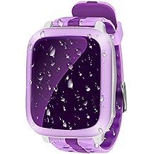 Smart Watch GPS Tracker Niños Impermeable 1.44inch localizador GPS tracking de tiempo real Niños geo-recinto SIM Calls SOS reloj teléfono niño antipérdida GPS pulsera Girls Boys Finder para iOS Andriod DS18, violeta