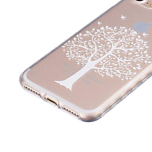 Pheant® [4 in 1] Apple iPhone 7 (4.7 pouces) Coque Gel Étui Housse de Protection Transparent Cas avec Verre Trempé Protecteur d'écran Stylet Bouchon Anti Poussiere Arbre Blanc