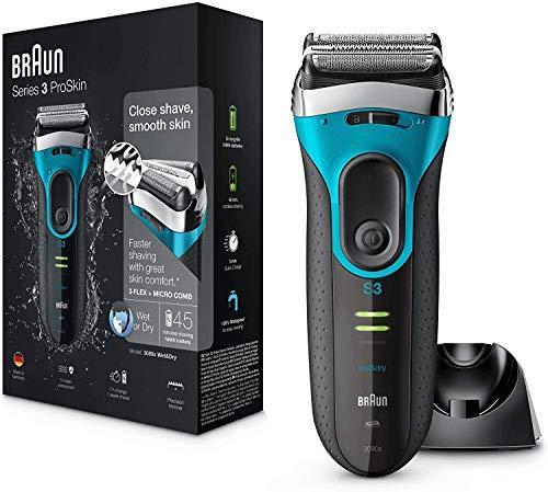 Braun Series 3 ProSkin 3080s Rasoir Électrique Homme Barbe, Noir/Bleu - Rasoir Électrique Rechargeable + Base De Recharge