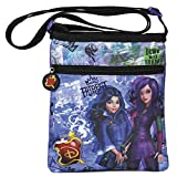 Shoulder bag for little girl with Mal & Evie Descendants prints from Disney movies - Flat crossbody messenger for teenagers with zipper - Violet backpack for travel - Perletti 21x18 cm