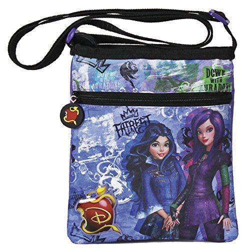 Perletti Kinder Violett Tasche für Mädchen mit Mal und Evie aus dem Walt Disney Film Descendants - Verstellbarer Schultergurt flach Umhängetasche Messenger mit Reißverschluss 21x18 cm