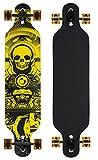 Longboard Skateboard Drop Through 104cm Skate Board ABEC 9 Holzboard Komplett (Gelb)