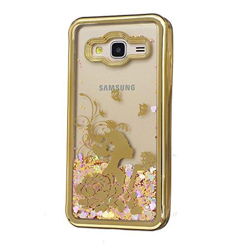 Hülle Galaxy J3 2016 (5,0 Zoll) Hülle Transparent Hardcase,3D Galvanotechnik TPU Kreative Liquid Bling Hülle Case Für Samsung Galaxy J3 (2016) J320 (5,0 Zoll),Dynamisch Treibsand Flüssige Fließend Was 4