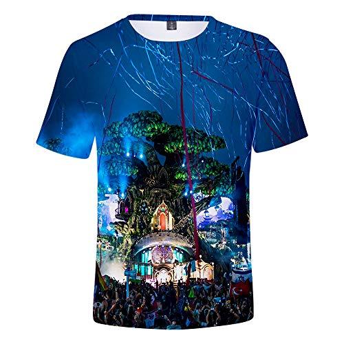 CCTXUE Magliette T-Shirts Stampa 3D Uomo Donna Neutro Tops Poliestere/Cotone Rapida Asciugatura Rapida Ventilazione Soft Casual Maniche Corte Girocollo Tomorrowland XXL