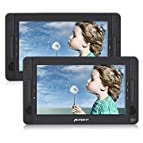 Pumpkin 10.1' Reproductor de dvd portatil coche 2 pantallas ( USB, SD ) con Cargador de Coche y Soporte para Resposacabezas , Negro