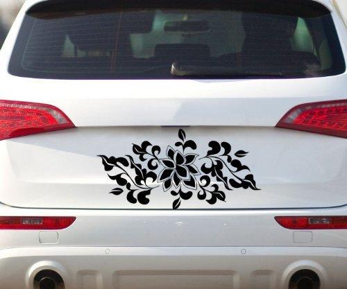 Aufkleber Blumenranke, Auto Blüten Sticker Hibiskus Styling Tattoo Blume 2K014_1, Farbe:Weiß glanz;Breite vom - Hibiskus-blumen Papier