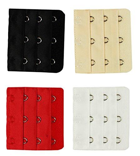 COM-FOUR® 4x BH Extender Erweiterung 3 Reihen mit je 3 Haken Set (04 Stück - Weiß/Rot/Beige/Schwarz)