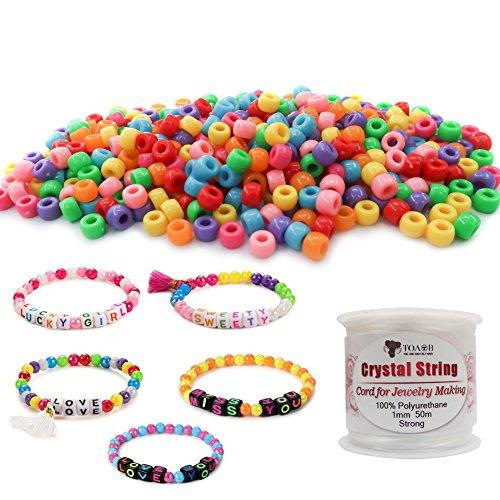 TOAOB 1000 stücke Mischfarbe 6x9mm Acryl Runde Pony Perlen mit 30 Meter Kristalldraht Für Kinder Handgemachte DIY Schmuck machen