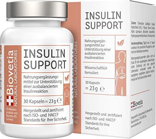 Biovetia Insulin Support, Unterstützung einer ausbalancierten Insulin Reaktion, Blutzuckerspiegel und einen gesunden Stoffwechsel, mit Berberine und Alpha Liponsäure, 30 Kapseln