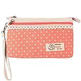 KISS GOLD (TM Mini Handytasche Geldbeutel mit Polka Dots für Damen und Mädchen Schneeflocke Pink