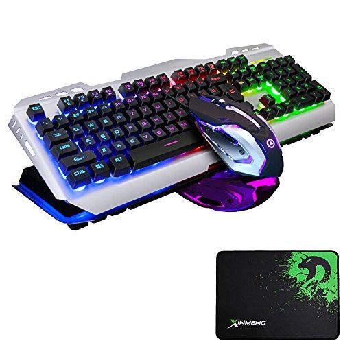 LexonElec Juego teclado ratón cable 104 teclas Rainbow